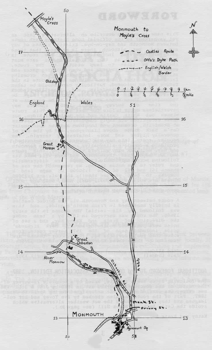 Map, Monmouth to Moyle's Cross