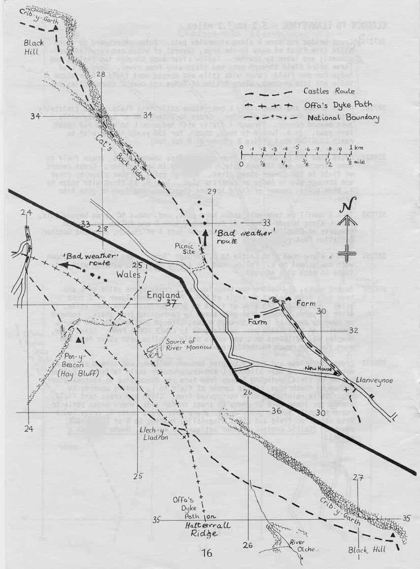 Map: Llanveynoe to Hay Bluff